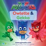 Owlette and Gekko from the PJ Masks at Drusillas Park